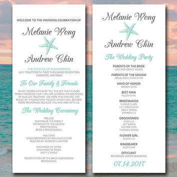 "Beach Wedding Program Template Starfish Wedding Program ""Sea Star"" Order of Ceremony Program Download DIY Wedding Template Seafoam Charcoal"