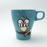 Chilly owl mug with snow / owl mug / christmas mug / snow mug / winter mug / cute mug / christmas coffee mug / owl coffee mug