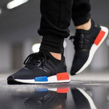 Best Online Sale Adidas NMD R1 Primeknit OG Core Black/Core Black/Lush Red S79168 Boost Sport Running Shoes Classic Casual Shoes Sneakers