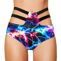 Strappy High Waisted Bottoms-Electric