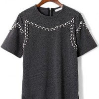 Grey Short Sleeve Pearl and Diamond Embellished Top