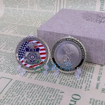 5pcs/lot FBI St. Michael Antique Bronze Challeng Coin United States Flag Patron Protecting Metal Medal