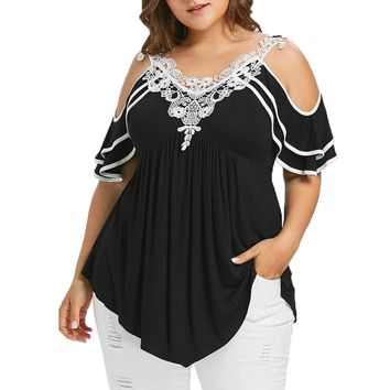 Plus Size 5XL Summer Womens Tops and Blouses 2018 Streetwear Lace Cold Shoulder Tee Shirts Tunic Ladies Top for Womens Clothing