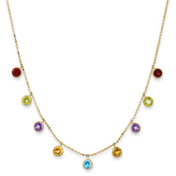 14K Multi-color Gemstone Necklace w/ 2in ext. XF2648