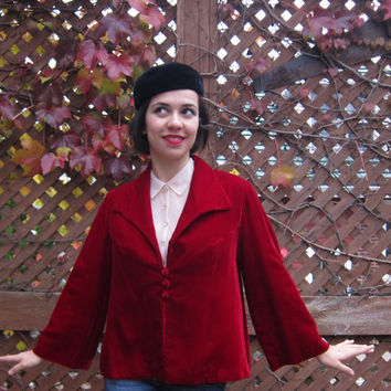 Vintage 50s Blood Red Velvet Cocktail Swing Jacket by BasyaBerkman