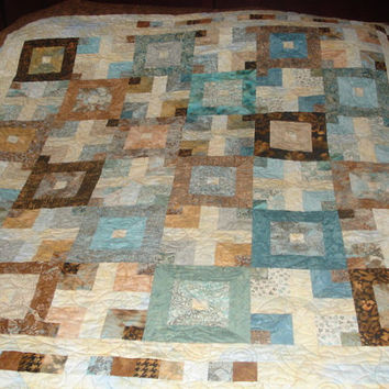 Brown Sugar Batik Bed Quilt Coverlet Lap Throw Quilt-79 x 79