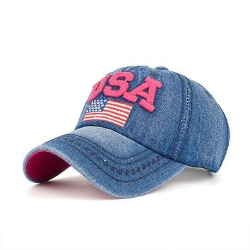 Summer Women Men USA Denim Rhinestone Baseball Cap Snapback Hip Hop Flat Hat Hot Brand Fashion Accessories Jane 13