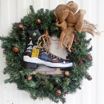 Wreath, ice skate city scene winter seasonal, holiday