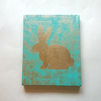 Gold bunny rabbit acrylic canvas painting for trendy baby girls room