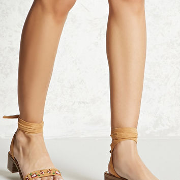 Faux Suede Embroidered Sandals