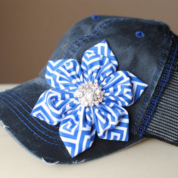 Womens Mesh Trucker Hat and Shabby Chic Navy Chiffon Flowers Cadet Hat Distressed Military Style Hat  Flower Cap