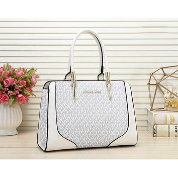MK Michael Kors New fashion more letter print leather shoulder bag women handbag White