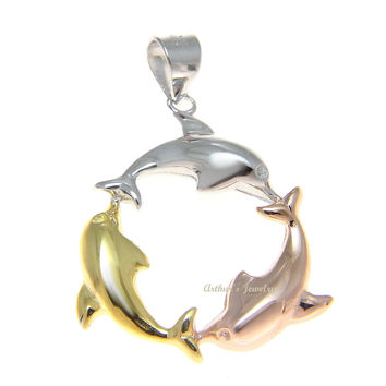 ROSE GOLD YELLOW GOLD 925 SILVER TRICOLOR HAWAIIAN DOLPHIN CIRCLE PENDANT 25MM