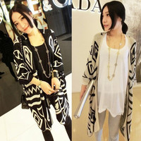 Women Spring Fashion Casual Knit Asymmetry Batwing Sleeve Cardigan Outwear Sweater Cape Poncho Coat = 1946216964