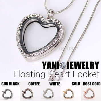 10PCS Mix Color Heart Floating Locket with Rhinestone Openable Magnetic Glass Locket for Charms(including chains free)
