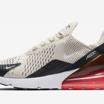 Nike Air Max 270 Black Light Bone Hot Punch AH8050-003 Tan and Pink Red Size
