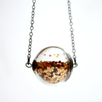 Copper glitter necklace in round hand blown glass by thestudio8