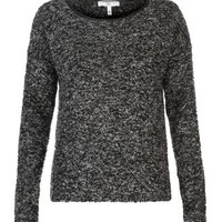 New Look Mobile | Black Leather-Look Trim Boucle Jumper
