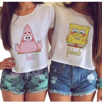 Kiwiqiwei Women Cute Cartoon Sexy Kwaii BFF irregular Tumblr Blusas Plus Size Harajuku Best Friends Couple Crop Tops