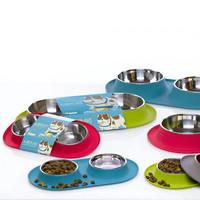 Silicone & Stainless Steel Double Feeder