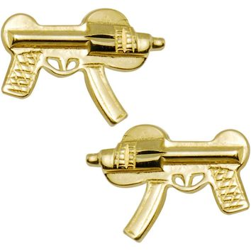 14kt Yellow Gold Machine Gun Stud Earrings