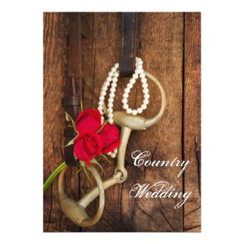 Red Roses and Horse Bit Country Wedding Invitation