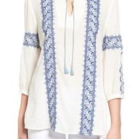 Caslon® Embroidered Boho Blouse (Regular & Petite) | Nordstrom