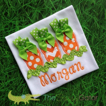 EASTER CARROTS Spring Personalized Applique T-Shirt