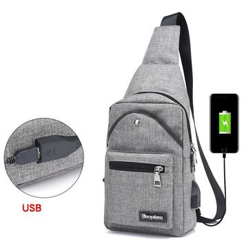 Casual Men's Backpacks Polyester Solid Color Multi Pockets Messenger Shoulder Back Day Pack Sling Chest Backpack Bag Crossbody