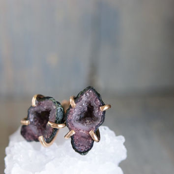 Light Pink and Green Geodes. Prong Studs. Raw Rock Druzy Crystal Stone Earrings. Simple Minimal Stone studs. Gold Fill Geode Earrings