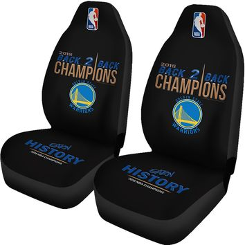 Golden State Warriors Car Seat Cover 2pcs 2018 NBA Back 2 Back Champions