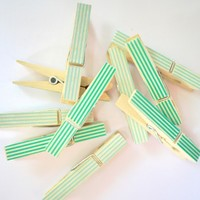Clothes Pins 8pk - Mint and Lime Green