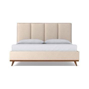 Carter Upholstered Bed VEGAN LEATHER :: Leg Finish: Pecan / Size: Full