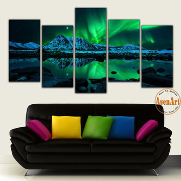 5 Panel Canvas Art Aurora Borealis Painting Canvas Print Wall Art Picture Home Decoration Living Room Unframed
