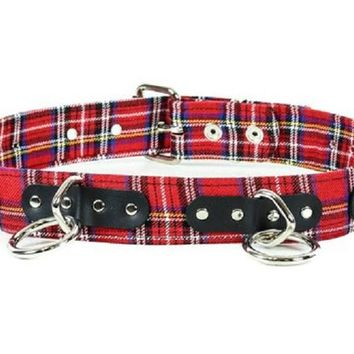 "Red & Black Plaid 1-1/2"" O Ring Quality Leather Belt 1-3/4"" Wide"