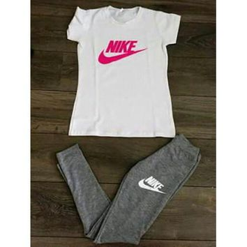 Nike Fashion Casual Solid Color Blouse Pants Set Two-Piece Sportswear