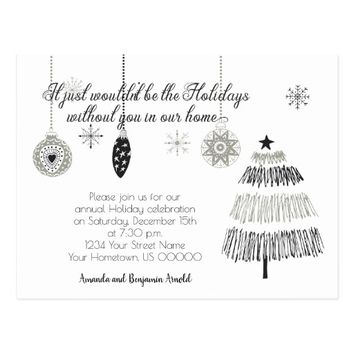 Black and Silver Christmas Holiday Party Invite | Postcard