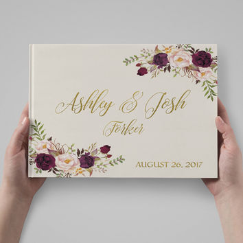 Wedding Guest Book Boho Floral Wedding Guestbook Burgundy Gold font Wedding Album Personalized Wedding Keepsake Book Rustic Wedding Journal