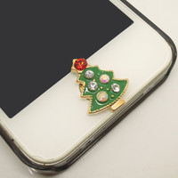 Etsy Cyber Monday/Black Friday 1PC Bling Crystal Alloy Green Christmas Tree w/Star iPhone Home Button Sticker Charm for iPhone 4s,4g,5,5c