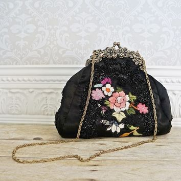 Midnight Black Embroidered + Kiss-Lock Handbag