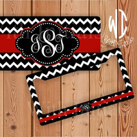 Black and White Chevron license plate or frame monogrammed - red monogram chevron car tag chevron bike accessory