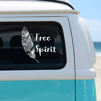Free Spirit Boho Vinyl Window Decal - Car Sticker - Car Decal - Feather