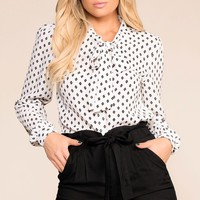 Astrid White Patterned Top