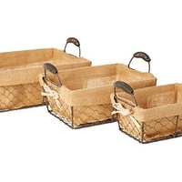 S/3 Assorted Square Baskets w/ Linen