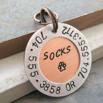 Personalized Pet ID Tag, 2 phones, 1 address
