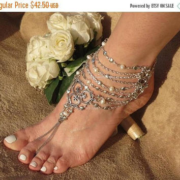 Roman* Gladiator Barefoot Sandal Foot Jewelry, bare foot sandals pearl, silver hearts foot chain body jewelry, slave anklet toe ring