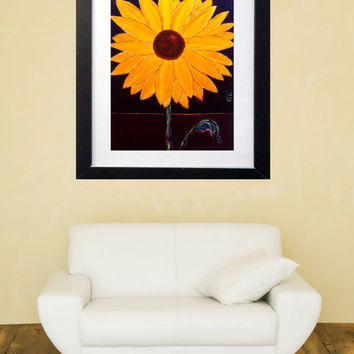 Sunflower Print - Colorful Art - Modern Art - Contemporary Art - Figurative Painting - Sunflower at Dusk