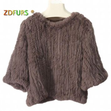 ZDFURS * real  knitted rabbit fur jacket coat fur o-neck pullover knitted fur coat blouse outerwear