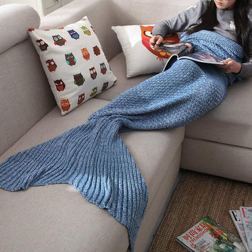 Knitted Mermaid Sofa Blanket Autumn&Winter Gift Watch Gift