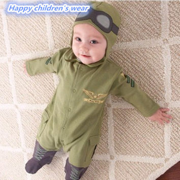 2PCS Autumn/Winter Babys Rompers Clothes Newborn Boys Girls Pilot Baby Rompers+Hat Jumpsuit Clothing